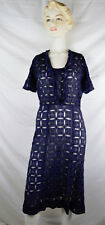 Vintage 30s Lace Openwork Day Dress Navy Cutwork 1930s Deco
