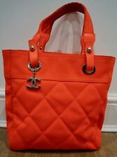 CHANEL Women's Orange Fabric & Leather Silver Tone Branded Quilted Tote Bag Sz M