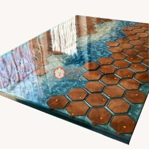 Blue Ocean Resin River Acacia Dining Conference Table Honeycube Handmade Decor