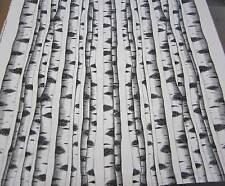 Stoff Meterware Baumwolle Birke Stämme Baum weiß schwarz Zweige Schweden Neu