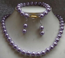 8MM Round lavender south sea Shell Pearl necklace Bracelet Earring SET AAA