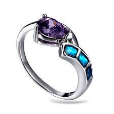 Blue Fire Opal & Amethyst Women Jewelry Gemstone Silver  Ring Size 8 RM03