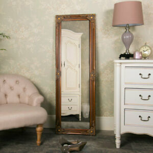 Tall slim gold wall leaner mirror shabby vintage chic ornate living room bedroom