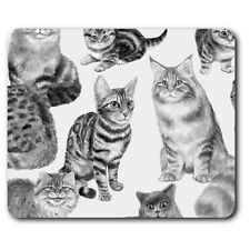 Rectangle Mouse Mat BW - Cute Cats Pattern Animals Kitten  #41056