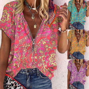 Women Summer Zipper V Neck Short Sleeve T Shirt Casual Print Blouse Loose Tunic