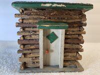 Antique Vintage Handmade Folk Art Primitive Wood Log Cabin Shed Outhouse House