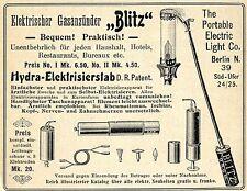 Electric Light & Co. Berlin GASANZÜNDER BLITZ Historische Reklame von 1905