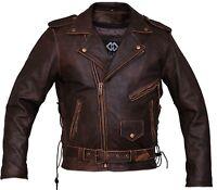 Mens Brown Distressed Leather Marlon Brando Biker Motorcycle Armoured Jacket