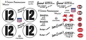 #12 Bill Von Esser's 1954 Corvette Pan American Decals 1/18th Decals