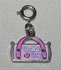 Ballet Bag Charm Pink Enamel Design Both Sides Silverplate Spring Clasp New
