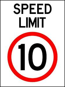 SPEED LIMIT 10KM/H - 450 X 300MM - METAL SIGN - SAFETY TRAFFIC  SIGN