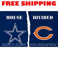 Dallas Cowboys vs Chicago Bears House Divided Flag Banner 3x5 ft NFL 2019 NEW