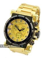 mens big heavy gold tone steel clubbing watch black dial heavy bracelet designer