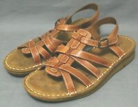 NATURAL SOUL Womens Casual Buckle Fisherman Sandals Size 7 Med Tan Leather Upper