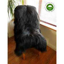 LARGE Top Quality Genuine ICELANDIC SHEEPSKIN Rug NATURAL BLACK
