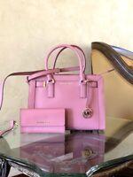 NWT Michael Kors MD Dillon Leather Satchel Handbag/Wallet Rose