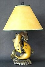 """Vintage Continental Art Co Dancing Fish Table Lamp Man Cave Lodge Cabin 33"""""""