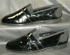 Stanley Blacker Couture black patent leather tuxedo loafers Men's shoes 11 M