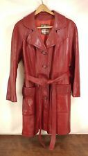 Vintage Womens Red Wine DAN DI MODES 24K Leather Coat Jacket With Belt M