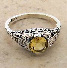 Genuine Citrine 925 Sterlining Silver Antique Style Ring, Size 6.75 #565