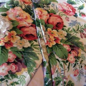 "A Pair of Vintage Martex Lined Floral Drapes/ Curtains 86"" L EUC"