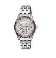 TIMEX SILVER TONE,S/STEEL,MULTI FUNCTION,COLORED CRYSTAL,BRACELET  WATCH-T2P386