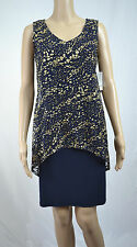 New SLNY  Blue Navy Gold Women's  Sheath V-Neck Overlay Dress Size 10 $99