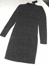 "BNWT S MINIMUM ALPHA BLACK SILVER STRIPES BODYCON PARTY DRESS CHEST 28"" (71cm)"