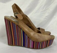 Madden Girl Fabric & Leather Wedges Size 10M