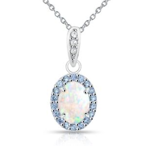 Oval Halo Simulated White Opal & Tanzanite Necklace in Sterling Silver