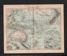 Landkarte map 1899, OCEANIEN. Australien Polynesien Neuseeland Fidschi-Inseln