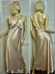 NWT Cabernet Ballet Nightgown LARGE Light Pink Satin w Blue Velvet Trim Low Back