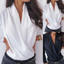 Damen V-Ausschnitt Hemdbluse Top Langarm Shirt Freizeit Bluse Oberteile Elegant