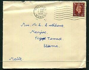 GB 1½d KGVI cover (entire) Malvern to Malta 2OCT38