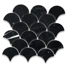 N993XH Nero Marquina Black Marble Fish Scale Grand Fan Scallop Mosaic Tile Honed
