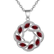 925 Silver and Eight Garnet Eternal Twist Pendant Necklace Ladies Gift Love