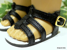 "**SALE** BLACK Strappy DOLL SANDALS SHOES fits 18"" AMERICAN GIRL Doll Clothes"