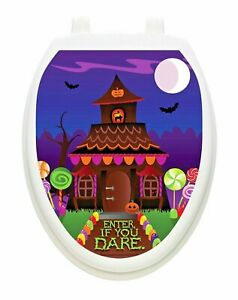 Toilet Tattoos HAUNTED COTTAGE  Lid Cover  Decor Silver Reusable Vinyl H-701