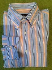 ISAIA - BLUE & ORANGE STRIPE COTTON BUTTON DOWN DRESS SHIRT - SIZE 15.5