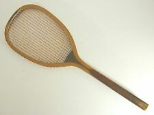 """Spalding """"The Greenwood"""" Checkered Handle Antique Tennis Racquet - Gut is Intact"""