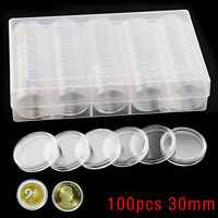 30mm Coin Storage Box Capsules Holder Applied Clear Plastic Round Storage 100PCS