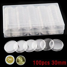 30mm Coin 100PCS Cases Capsules Holder Applied Clear Plastic Round Storage Box