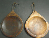 ANTIQUE PRIMITIVE HAND CARVED WOOD PLATE LOT OF 2