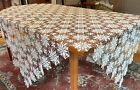 Vintage Crochet Lace Table Cover Off-White Ecru Cotton 62' by 64'