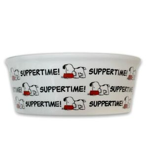 """Peanuts Snoopy Suppertime Stoneware Pet Bowl Classic Dog Food Water Dish 5"""" Wide"""