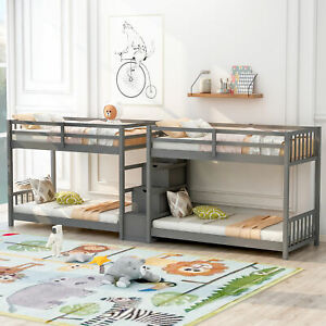 Twin Double Parallel Bunk Beds with Storage Staircase and Full Length Guardrails