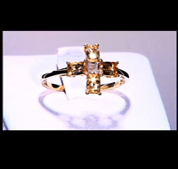 Rare Ouro Preto Imperial Peach Topaz & Diamond 10K Yellow Gold Ring Size P-Q/8