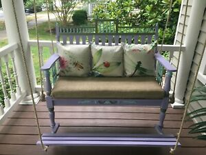 """Victorian 48"""" Porch Swing with foot pedal SFK Furniture primed for custom paint"""