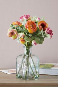 NEXT Artificial Ranunculus Mix Flowers Floral Arrangement Glass Bottle Vase New