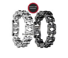 "Men's Black or Silver 8'' 9"" 10'' Stainless Steel Motorcycle Bike Chain Bracelet"